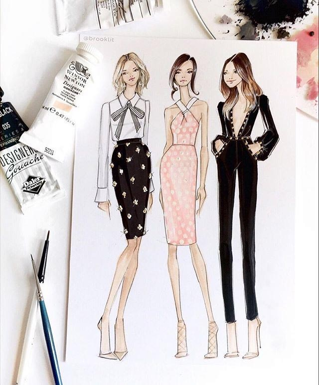 طراحی لباس با مداد سیاه